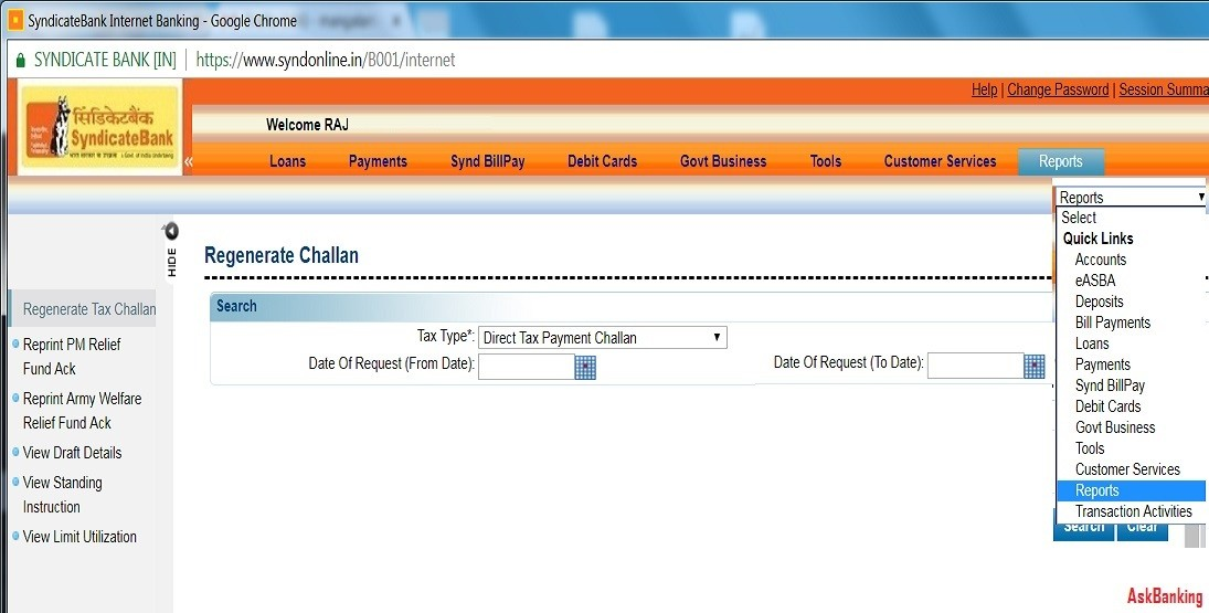Steps To Reprint Syndicate Bank Income Tax e-Challan Receipt