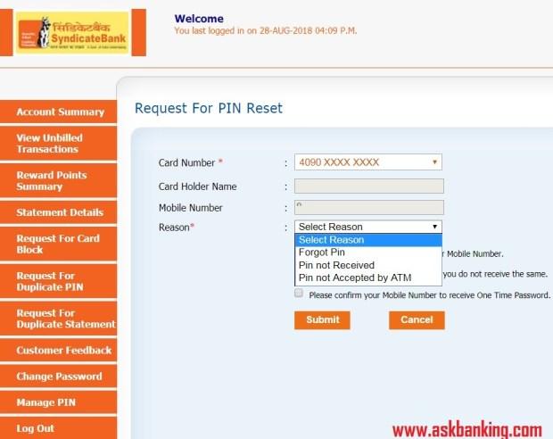 syndicate-bank-credit-card-forgot-ATM-PIN