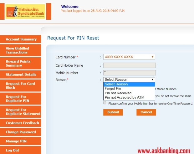 syndicate-bank-credit-card-forgot-ATM-PIN