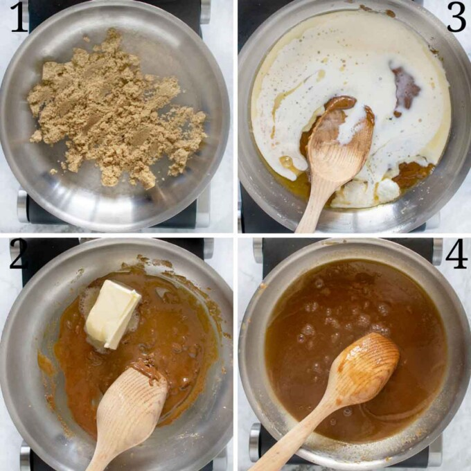 four images showing how to make dark caramel sauce