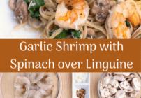 Pinterest image for garlic shrimp and spinach over linguine