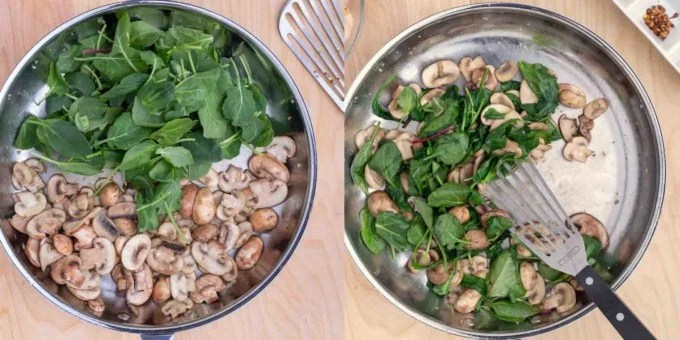 two images cooking spinach and mushrooms in a large saute pan