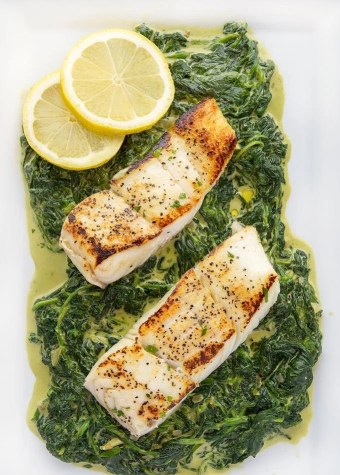 Pan Seared Halibut With Creamed Spinach Easy Recipe