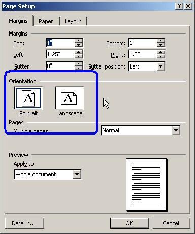 print sideways in microsoft