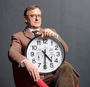 Chronobiologist Till Roenneberg, with a clock.