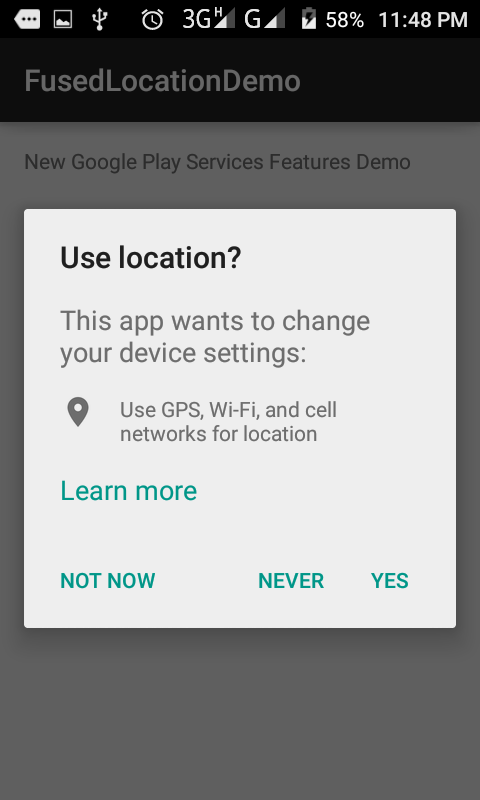 Get location in Android using Fused Location Provider Api
