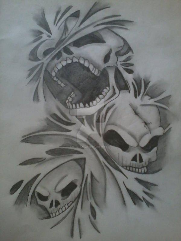 Evil Hear Speak Skull Design