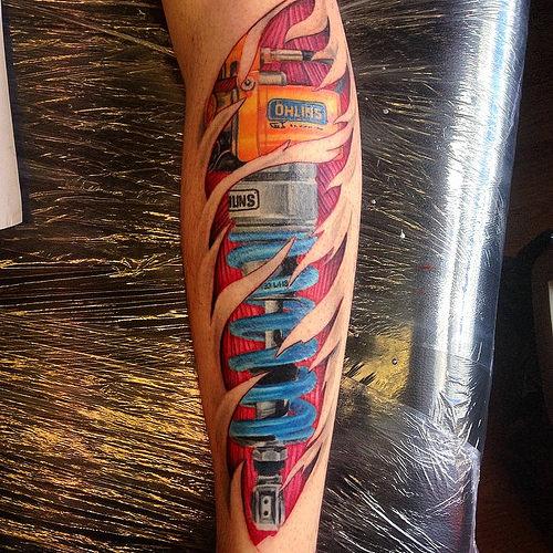Tatuaje De Amortiguador En La Pierna Sfb