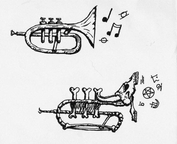 Musical Trumpet tattoo design by maddi-san