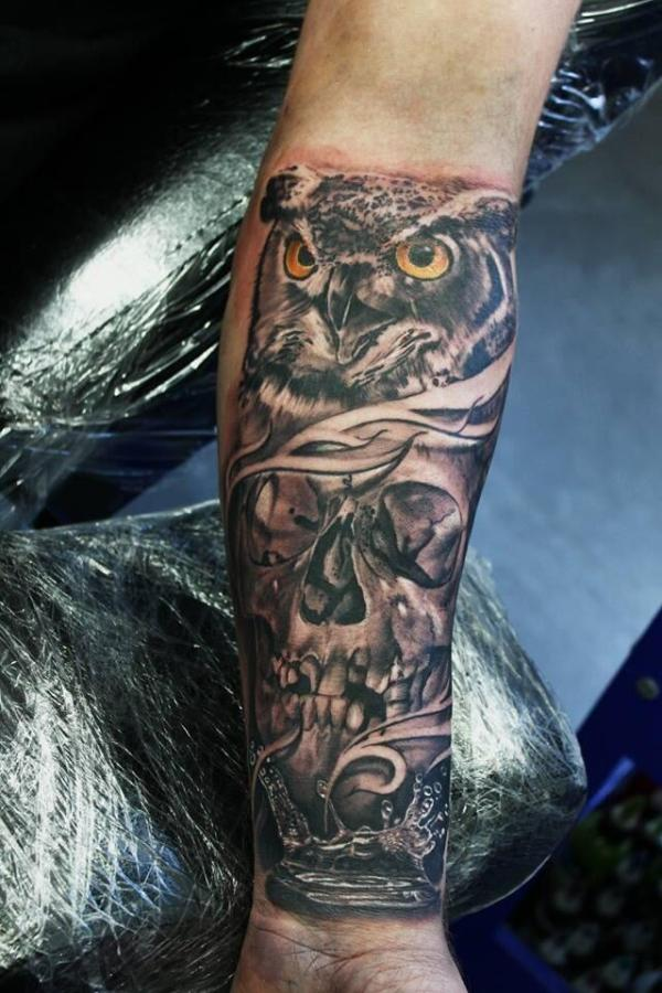 wonderful skull tattoos forearm