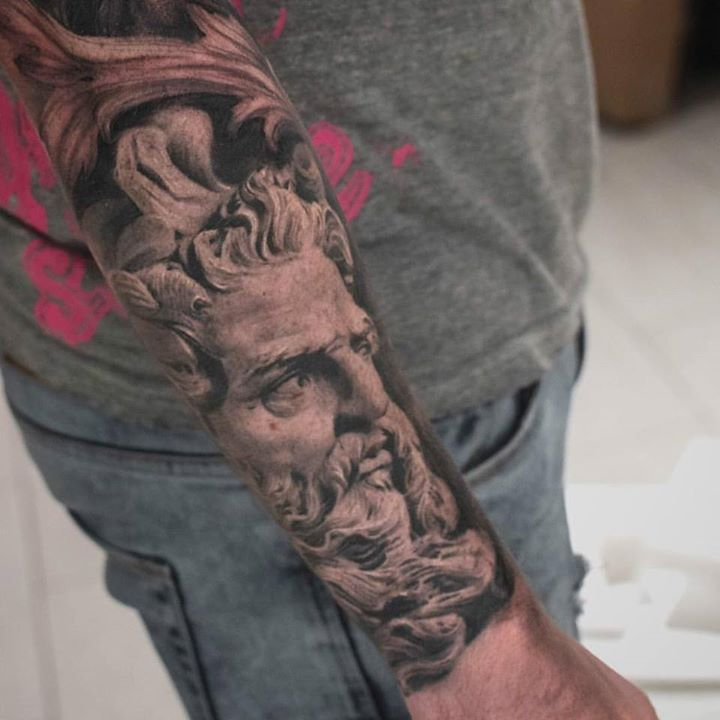 Greek Statues Tattoo On Full Sleeve