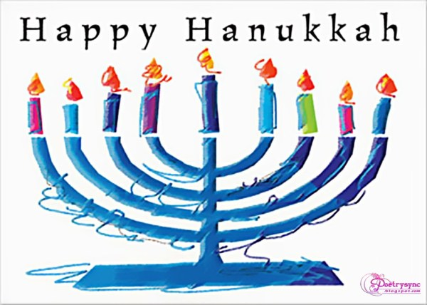 happy hanukkah candle stand clipart