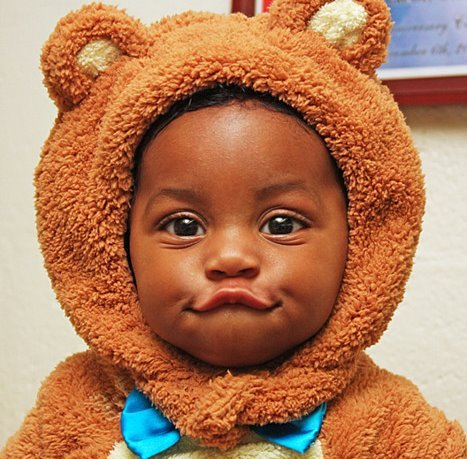 black baby in teddy
