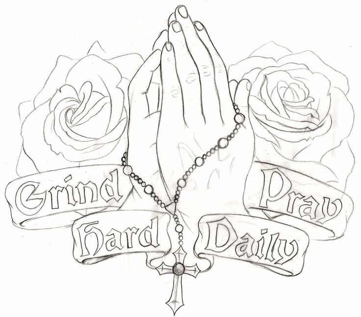 Awesome Rosary Cross In Praying Hand With Banner And Roses