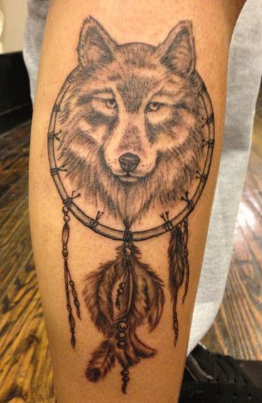20 Wolf Dream Catcher Calf Tattoos Ideas And Designs