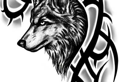 Wolf Tribal Tattoo Designs