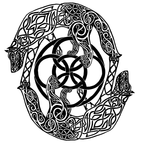 Black Celtic Wolf Head With Tattoo Design By Lin