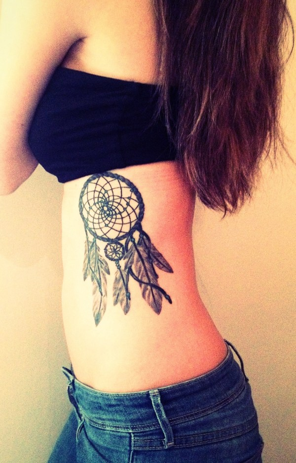 dreamcatcher tattoos ribs