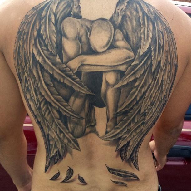 Warrior Fallen Angel Tribal Tattoos For Men
