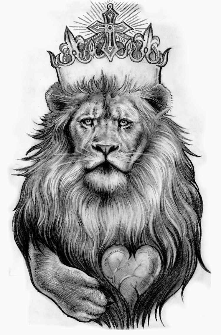 Easy Lion With Crown Drawing