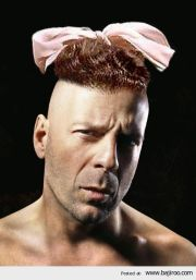 bruce willis with bow head funny
