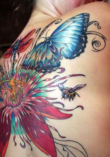 20 Bee Tattoos Flower Butterfly Ideas And Designs