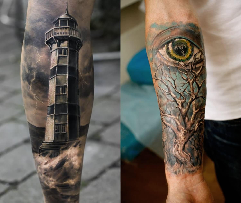 Arm Tattoo Black Shade Lightning