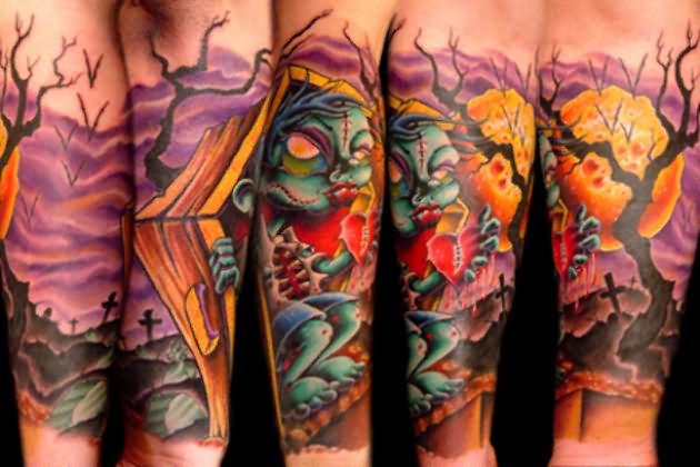 Zombie School New Tattoo Coffin
