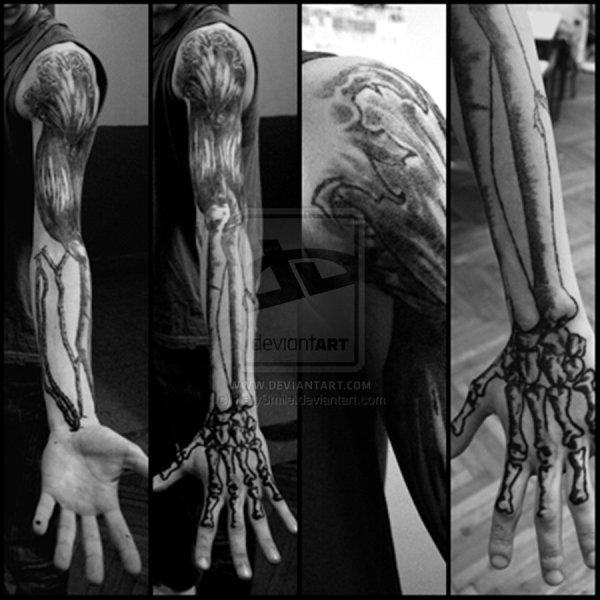 fantastic arm bone tattoos
