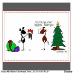 Funny Mistletoe Christmas Horse Cartoon Postcard Image
