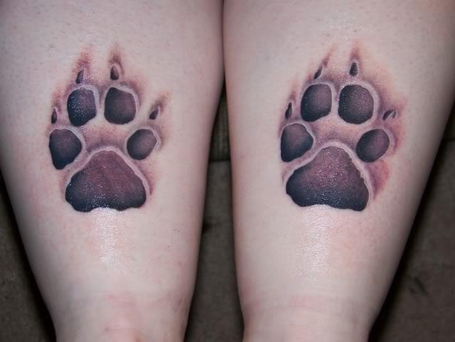 Dog Paw Print Tattoo On Foot