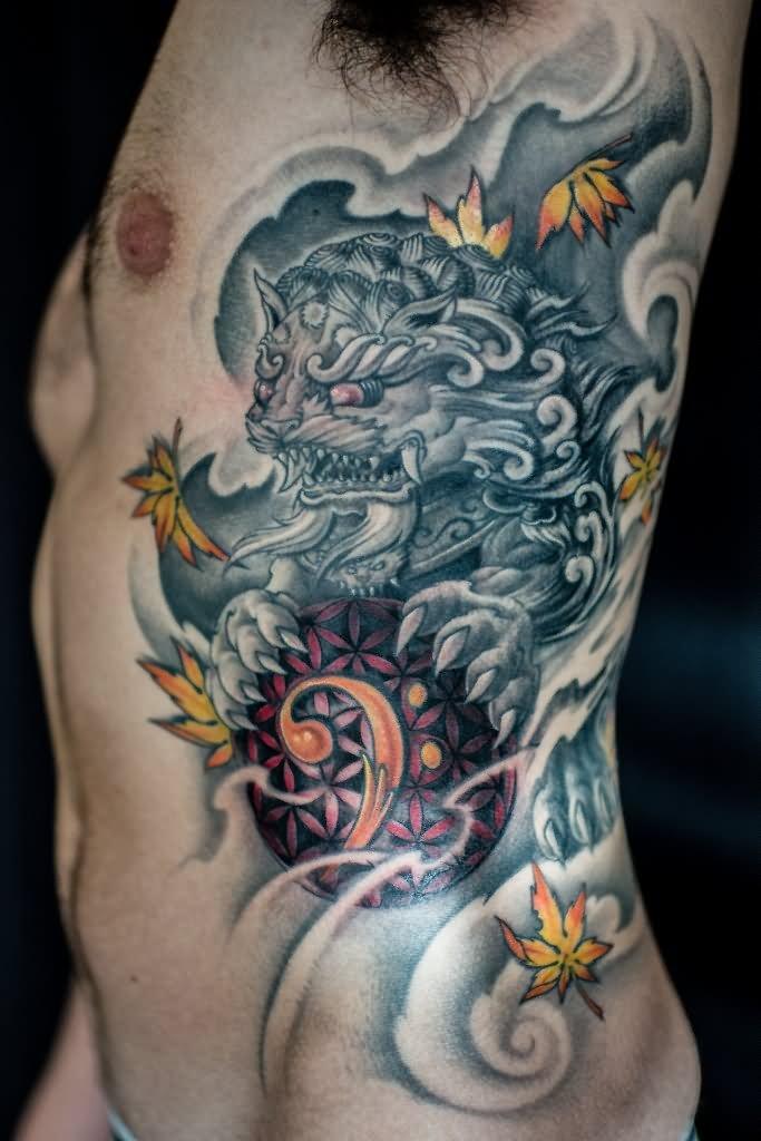 4 Dog Tattoos On Side Rib