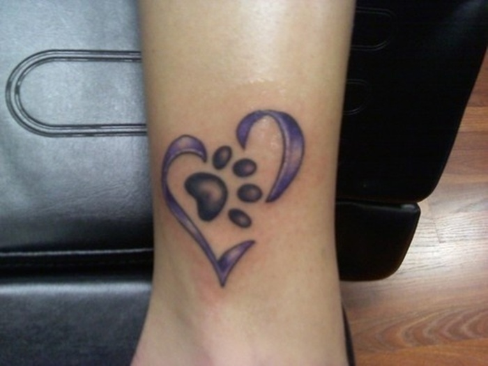 Dog Paw Print Tattoo With Name