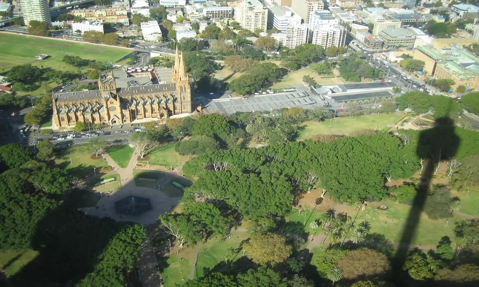 Aerial View Of Hyde Park And St Marys Cathedral Sydney