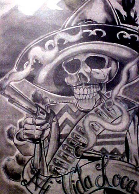 Steampung Girl Holding Skull Wallpaper 43 Mexican Gangster Skull Tattoos