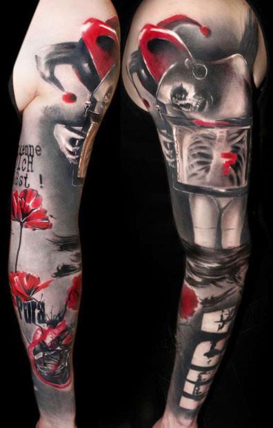 Joker Leg Sleeve Tattoo