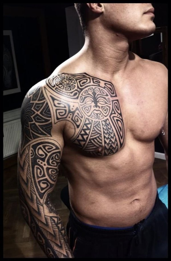 viking tattoo sleeve and chest