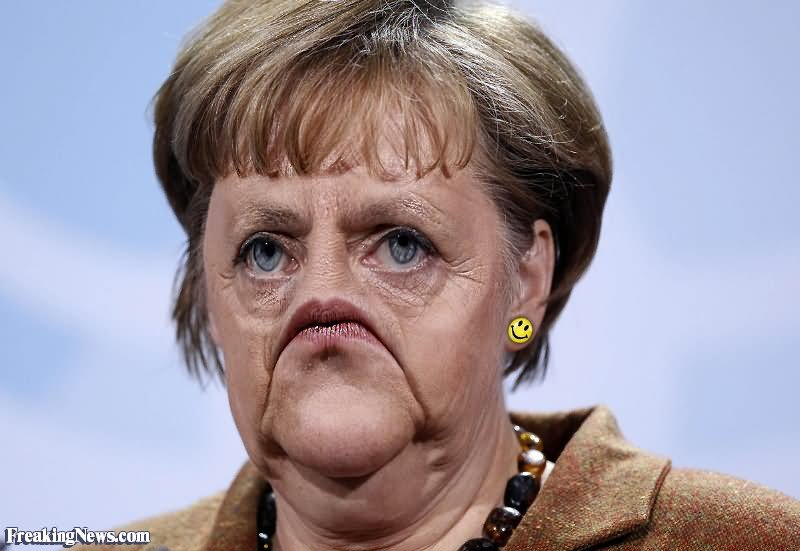 Angela Merkel With Very Funny Sad Face Photoshop Picture