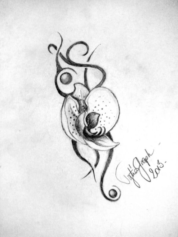 20 Black And White Orchid Flower Tattoos Ideas And Designs