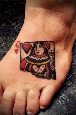 20 Queen Of Hearts Card Tattoos Ideas And Designs