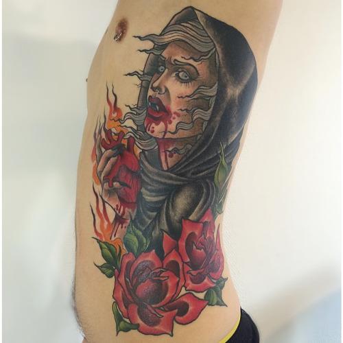 fd7acd6fb 20 Vampire Rose Cross Tattoos Ideas And Designs