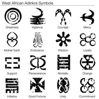 West African Adinkra Symbol Tattoo Designs