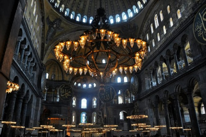 Beautiful Chandelier Inside The Hagia Sophia