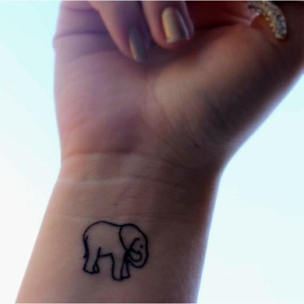 cute outline elephant tattoos