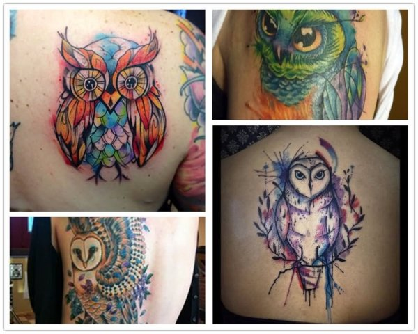 Watercolor Owl Tattoo Designs