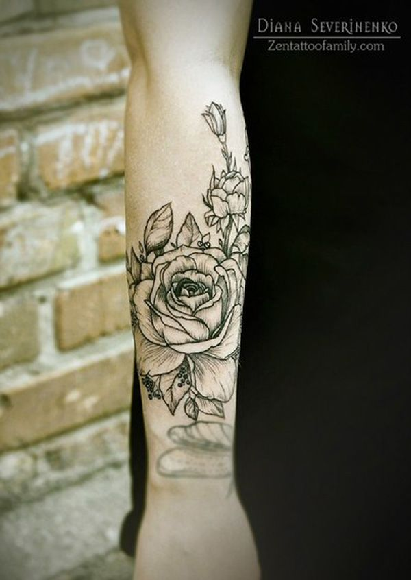 Forearm Female Rose Tattoo Designs