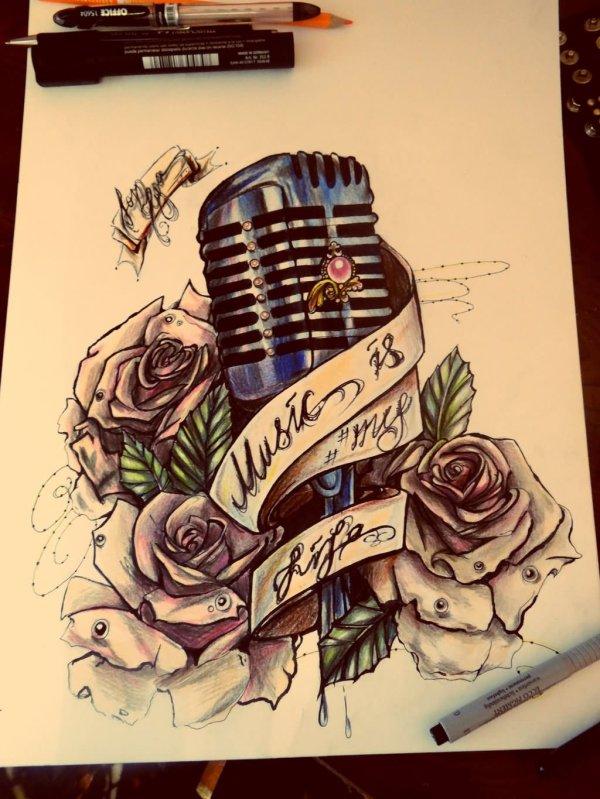 Microphone Rose Tattoos