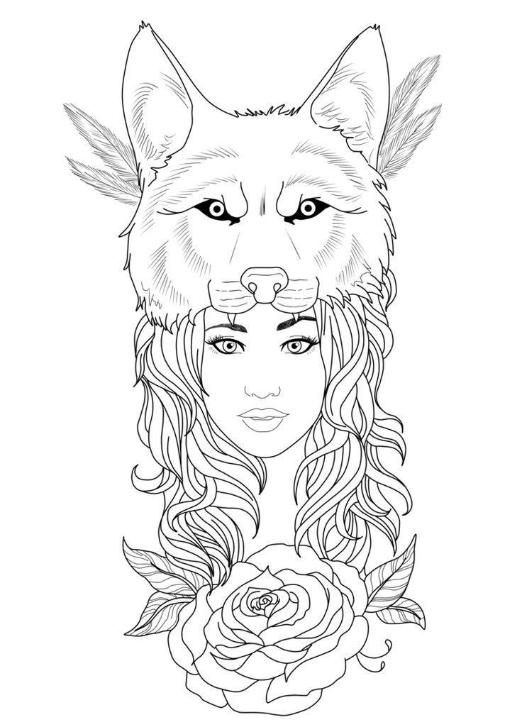 Outline Wolf Girl Tattoo Design by Chronokhalil