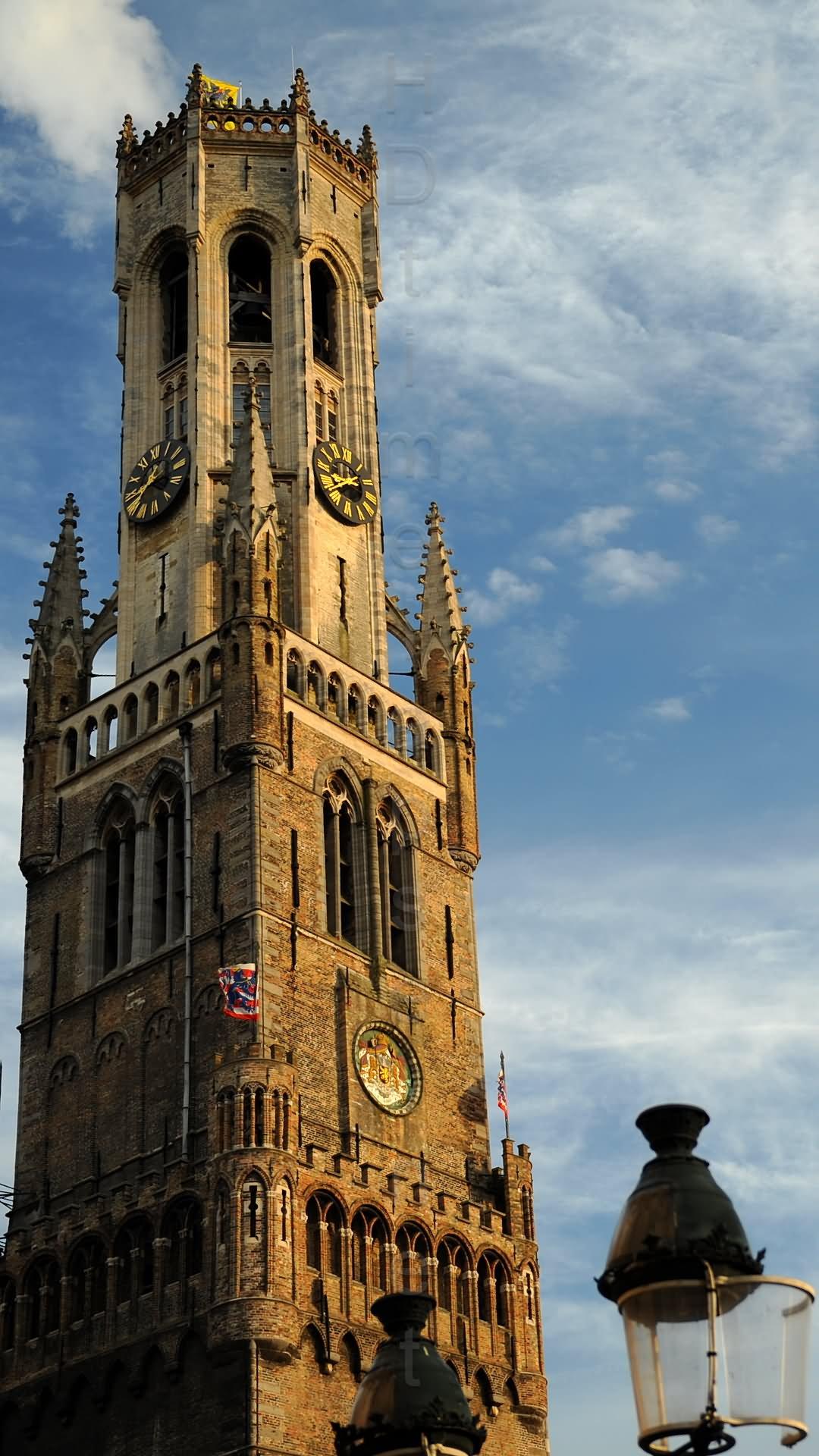 Magnificent View Of The Belfry Of Bruges In Belgium