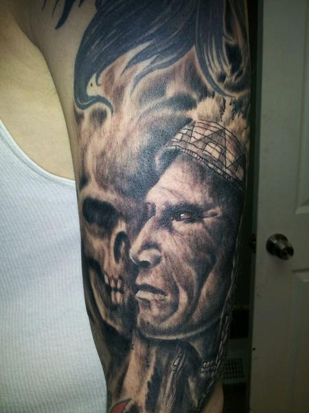 20 Skeleton Indian Chief Tattoos Sleeve Ideas And Designs